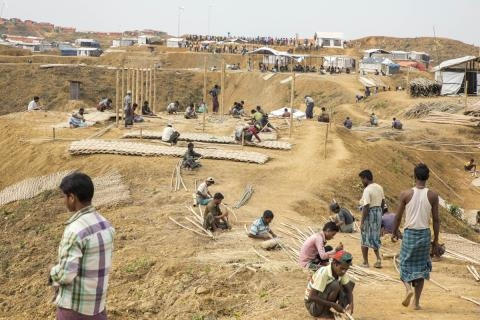 Thousands of Rohingya refuges have moved to safer ground ahead of monsoon season